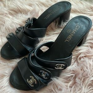 CHANEL Shoes - Chanel Black Turnlock Sandals